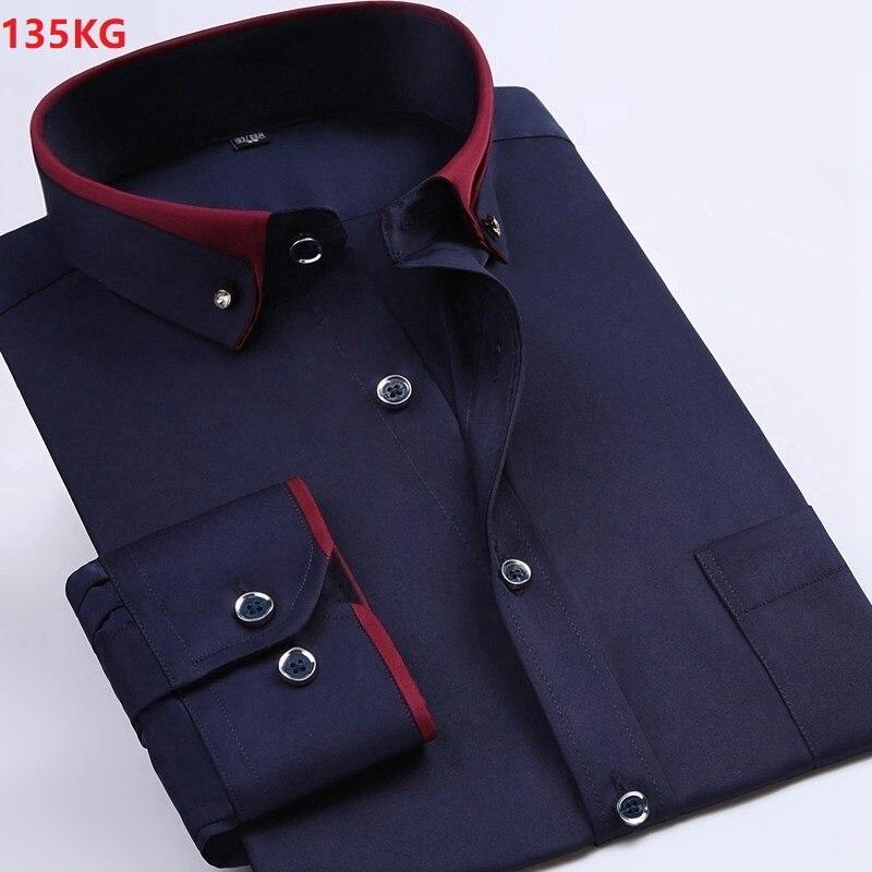 High Quality Men Wedding Dress Shirt Formal Long Sleeve Large Size  7XL 8XL 9XL Shirts Black Navy Blue Blouse Purple Loose Shirt