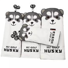 Cute husky golf club head cover, fairway wood cover of good quality, straight putter cover, semicircular putter cover
