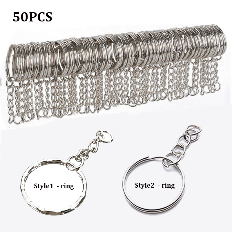 10/50pcs Polished Silver Blank Keyrings Keychains Split Rings Keyfob Pendant Holder Ring Home DIY Jewelry Accessories