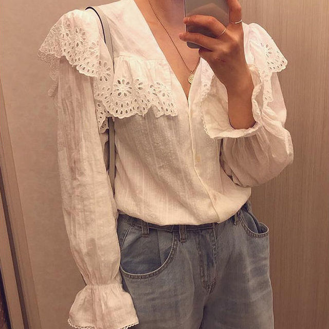 SLLSKY 2020 Spring Lady's Lace Patchwork Sweet White Blouse Women Blouses Long Sleeve Elegant Top Women's top Casual Shirts 5