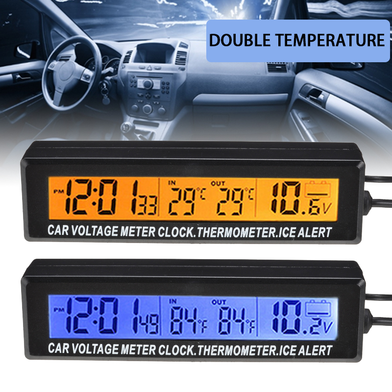 1Pc 3 In1 Car Digital LCD Clock & Indoor And Outdoor Temperature Display & Voltage Monitor Portable Car Blue Orange Backlight