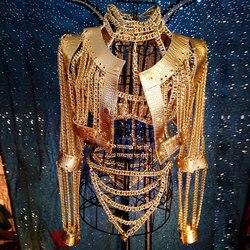 Frauen Sexy Gold Ketten Kostüm Outfit Bühne Leistung bar Nachtclub zeigen Bh Ketten Kurze mantel Festival rave tragen