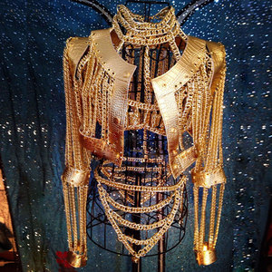 Women Sexy Gold Chains Costume Outfit Stage Performance bar Nightclub show Bra Chains Short coat Festival rave wear