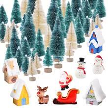Мини искусственная Рождественская елка 34 шт + полимерные миниатюрные