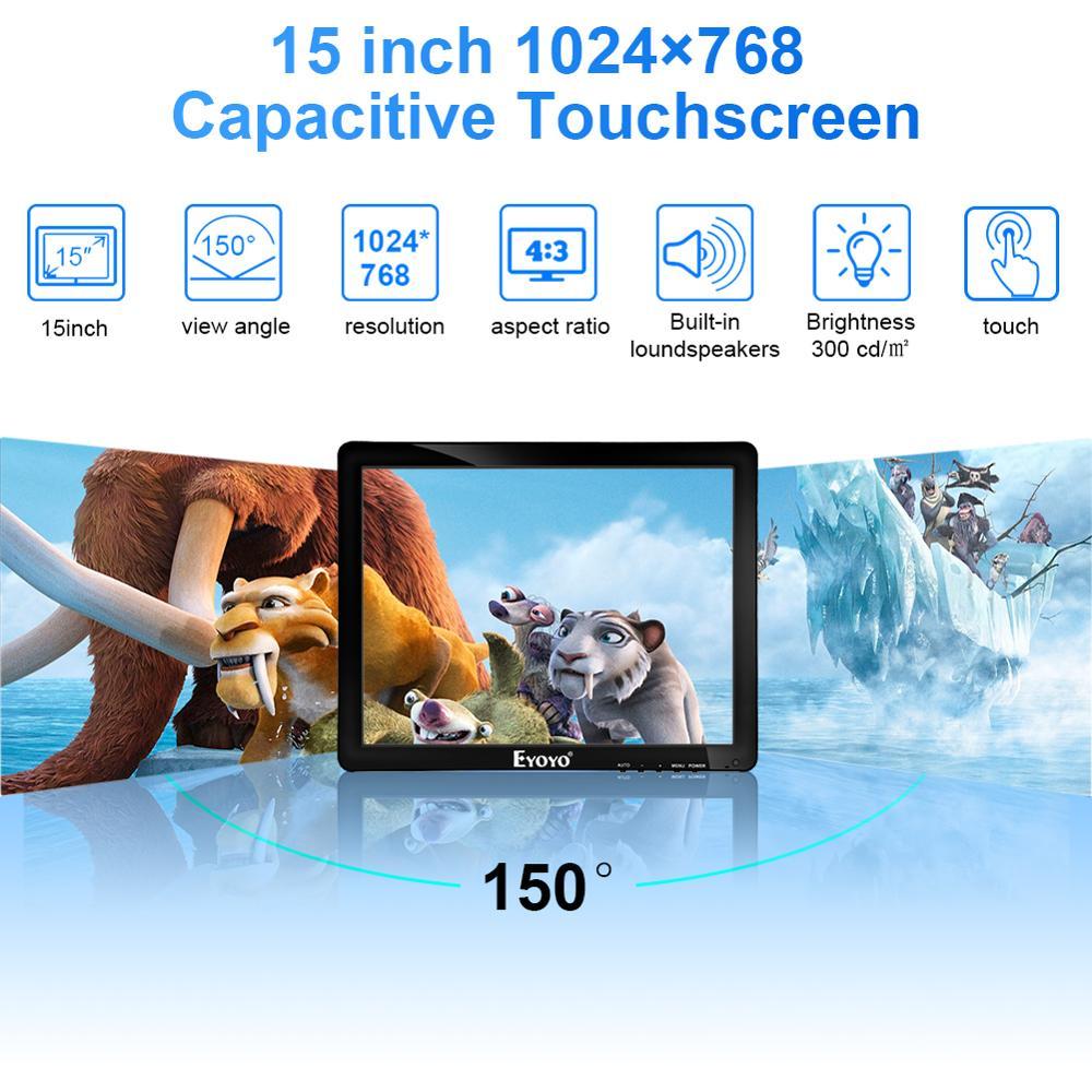 Eyoyo EM15T 15 écran tactile moniteur HDMI VGA écran affichage LED 1024 × 768 avec haut parleur pour système de position ordinateur industriel - 2