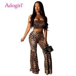 Женский сексуальный комплект из 2 предметов с леопардовым принтом Adogirl, укороченный Топ без бретелек + расклешенные штаны, штаны свободного