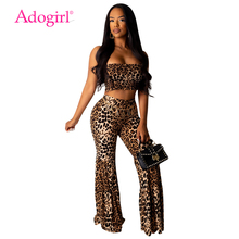 купить Adogirl Leopard Print Women Sexy 2 Piece Set Strapless Crop Top + Flare Pants Boot Cut Trousers Female Club Party Outfits Suit дешево