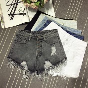 Shorts Women Hole Ripped Jeans Shorts Fashion Tassel Denim Sexy High Waist Short Pants Summer Shorts Femme Buttons Pockets gauss led a60 e27 7w 4100k 1 10 40