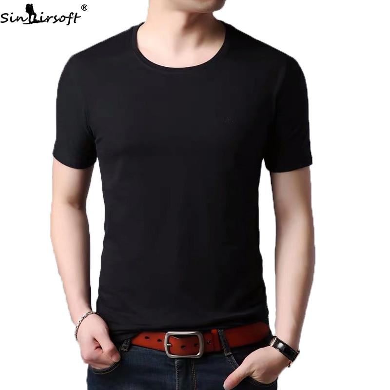 Milk Silk Summer New Korean Slim Round Neck Solid Color Tshirt Men's Trend Fashion Wild Casual Short Sleeve T-shirt Student Wear