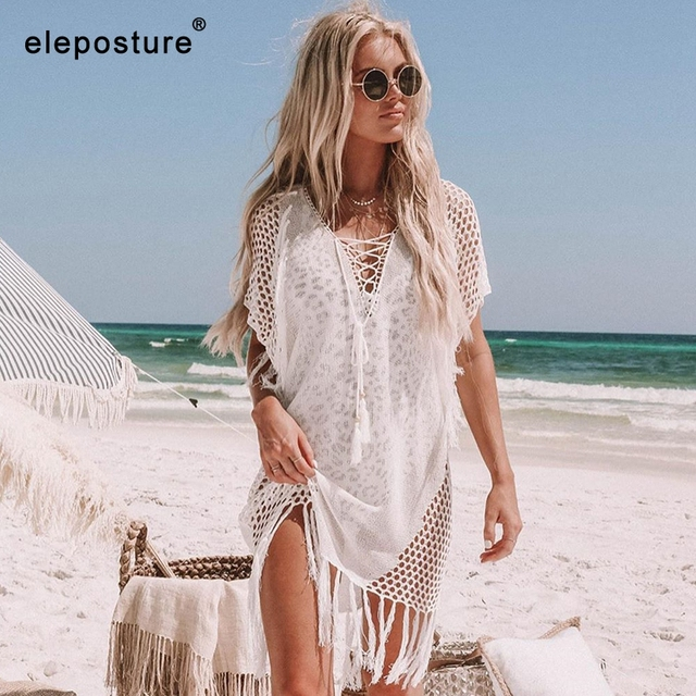 New Knitted Beach Cover Up Women
