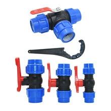 PE 3-Way Fast Connection Pipe Valve Plastic Ball Valve T-Type Water Splitte Internal Diameter 20/25/32/40/50mm Tube Accessories