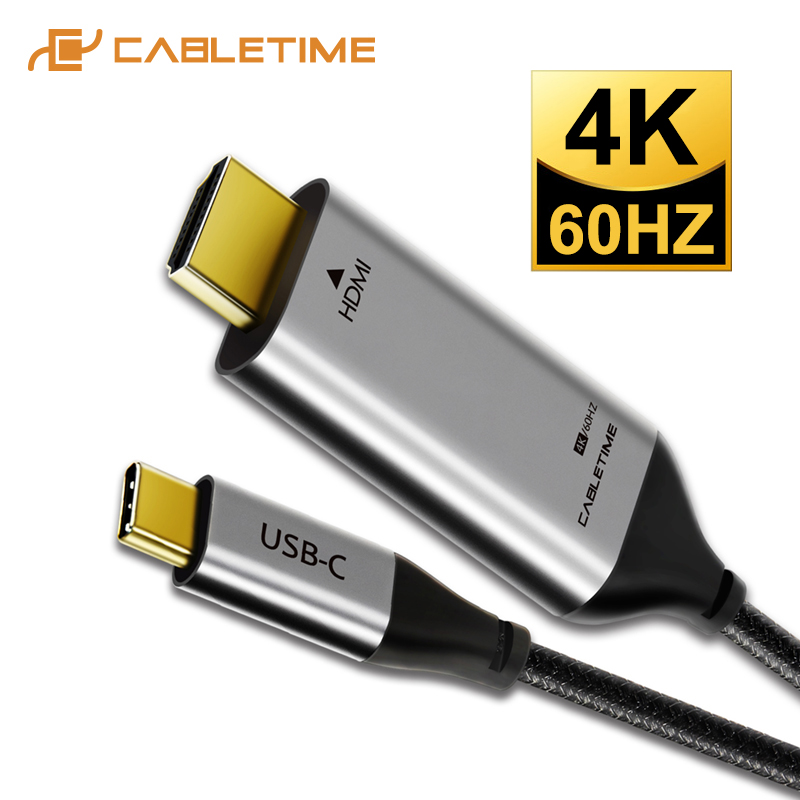 USB C de temps de câblage avec câble HDMI, câble hdmi 4 k, câble HDMI, 4 K, 60Hz, Type m, 3 pour Samsung, Huawei mate, 20,