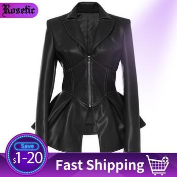 Rosetic Women Jacket Black Gothic Faux Leather PU Jacket Women Winter Spring Motorcycle Jacket Black Faux Goth Leather Coats цена 2017