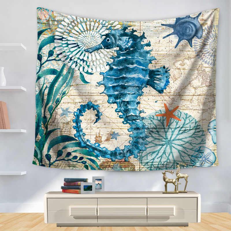 Настенный гобелен с принтом рыбы, тканевый Настенный Ковер, подвесной домашний декор, пляжный коврик, принадлежности для колдовства, 75*90 см, GT-0007