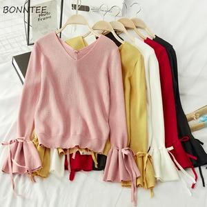 Sweter z dzianiny damskie różowe ubrania Harajuku dekolt w serek koreańska bluzka modne ubrania damskie swetry i swetry New-arrival Chic