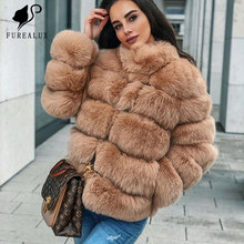 Fasion Winter Thick Hair Fur Stand Collar Luxury Natural Blue Silver Real Fox Slim Coat Outerwear Private Classic Customized