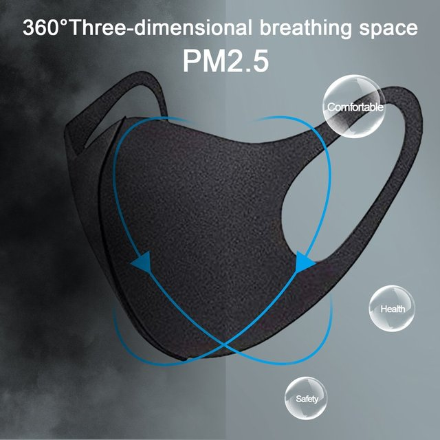 Sponge PM2.5 Black mouth Mask anti dust mask Activated carbon filter Windproof Mouth-muffle bacteria proof Flu Face masks Care 5