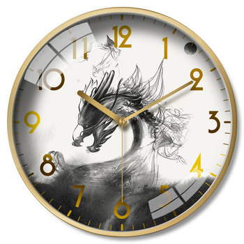 Bedroom Mute Circular Personality Watch Light Luxury Hanging Watch Ink Painting Set Clock Chinese Style Modern Design Timer