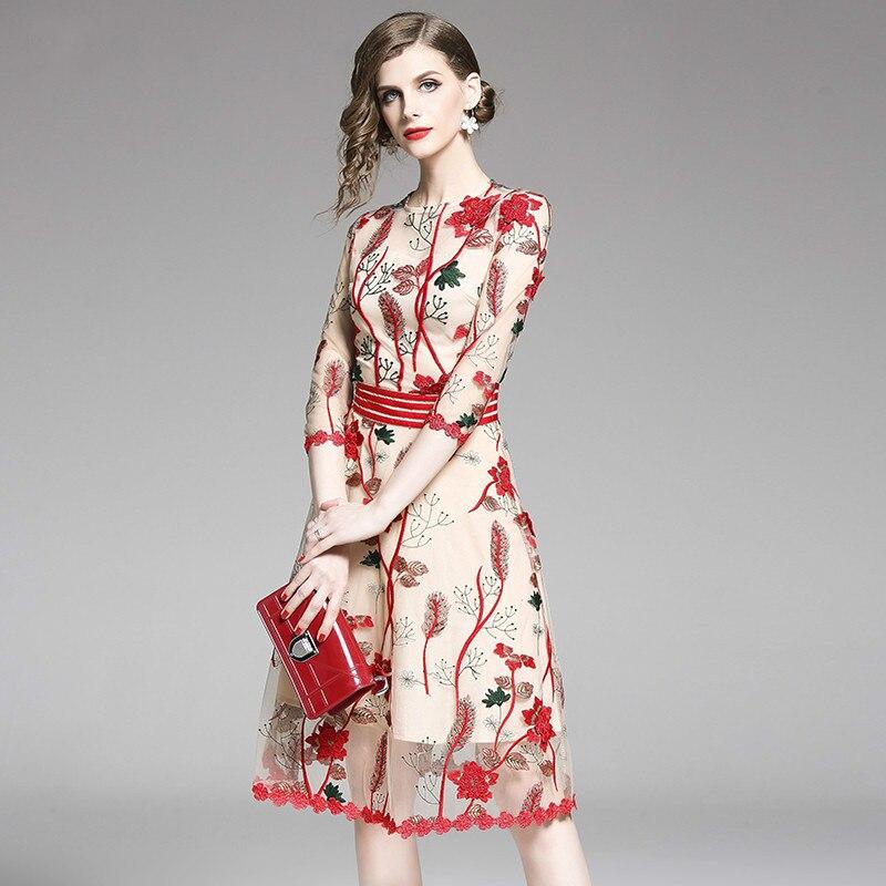 Высококачественное летнее платье с 3D Красной цветочной вышивкой 2019 женское повседневное пляжное платье миди Сетчатое кружевное платье сексуальные вечерние платья Vestido