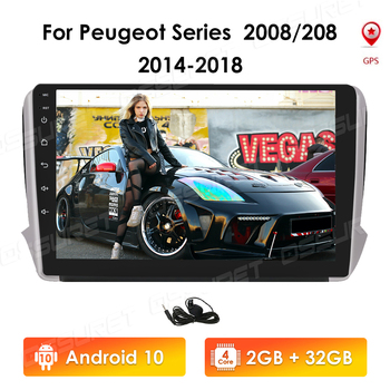 2GB+32GB Android 10 Autoradio GPS For Peugeot Series 2008 208 2014-2018 Car Radio Multimedia Video Player Navigation RDS 4G WIFI image