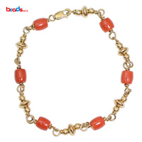 Beadsnice ID39751smt2 Red Coral Bracelet Gold Fill Gift for Women Peraonalized Gift Wholesale Supply
