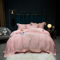 Satin Tencel Bedding Set Embroidery duvet cover set Long staple cotton Pillowcases Queen King Size Bed Bed Linen 4pcs