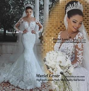 Image 2 - Женское свадебное платье с юбкой годе, роскошное кружевное платье невесты с длинными рукавами и аппликацией из Дубая в африканском стиле, индивидуальный пошив