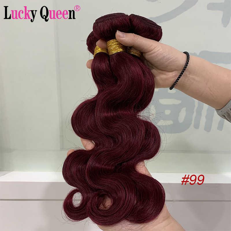 Lucky Queen Hair Brazilian Hair Weave Bundles 1b/Burgundy Red Blue 27 Honey Blonde Ombre Body Wave 3 Bundles Non-Remy Human Hair