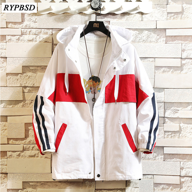 Fashion Mens Patchwork Jacket 2019 Autumn Oversize Jacket Men Hooded Loose Long Sleeve Hip Hop Windbreaker Jacket Zipper Men