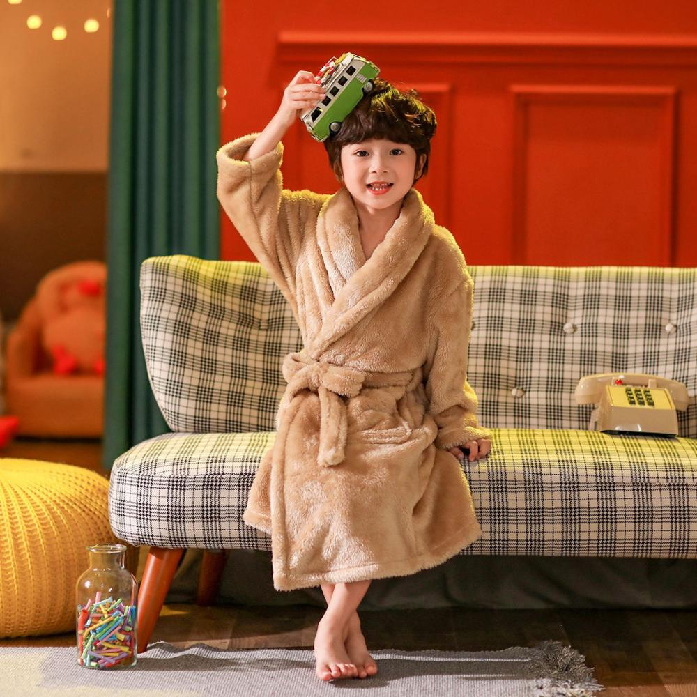 2021 new delivery children clothes winter boy girl pajama Flannel robe baby Bathrobe home clothes 3-12year 2