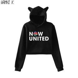 WAMNI-Moletom com capuz de gato Now United para meninas, melhor álbum, pulôver, kawaii harajuku tracksui, 2020