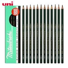 12 개/몫 미쓰비시 유니 9800 드로잉 연필 멀티 그레이 스케일 연필 쓰기 용품 사무실 및 학교 용품 도매