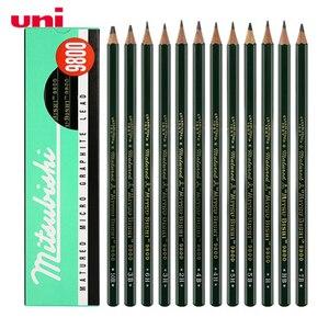 Image 1 - 12 개/몫 미쓰비시 유니 9800 드로잉 연필 멀티 그레이 스케일 연필 쓰기 용품 사무실 및 학교 용품 도매