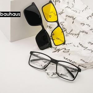 Image 1 - Magnet Flat Polarized Sunglasses Men big frame glasses  ultem Clip Sunglasses Glasses Men Clips X3180