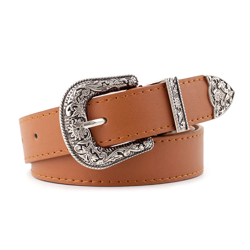 New Vintage Style Solid Color PU Leather Wide Belt For Jeans Pants Dress Ladies Belt With Western Buckle