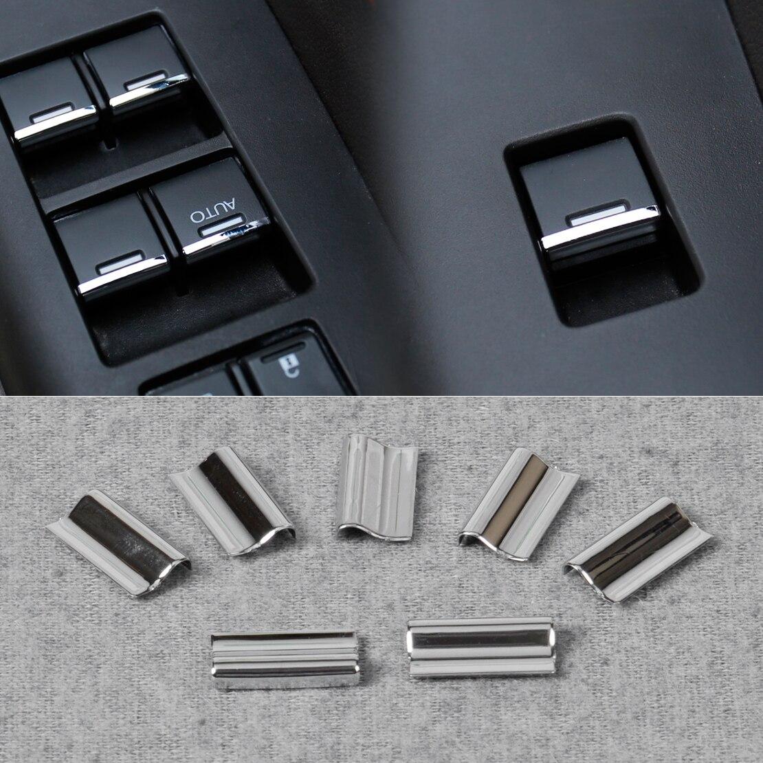 7 шт. хромированный переключатель двери и окна, крышка кнопки подъема, обшивка, подходит для Honda Civic, CRV, CR-V, Vezel, Accord, Odyssey, City
