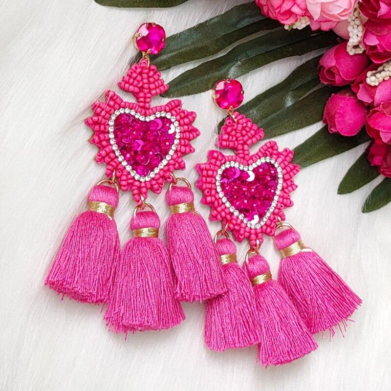 2020 New Fashion Tassel Drop Earrings For Women's Earrings Oorbellen Beads Fashion Trendy Jewelry For Wedding Engagement Party