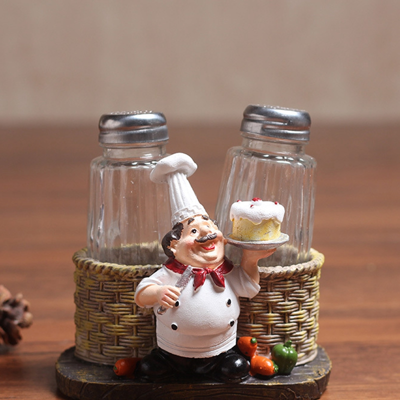 EASY-Cute Chef Pepper Bottle Ornaments Home Decoration Accessories Crafts Miniatures Manualities Kitchen Decoration Resin Crafts