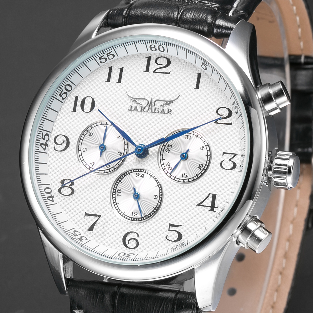 JARAGAR Classic White Dial Blue Hands Mens Auto Mechanical Wristwatch Day Date 24hrs Genuine Leather Strap Watches Male Clock