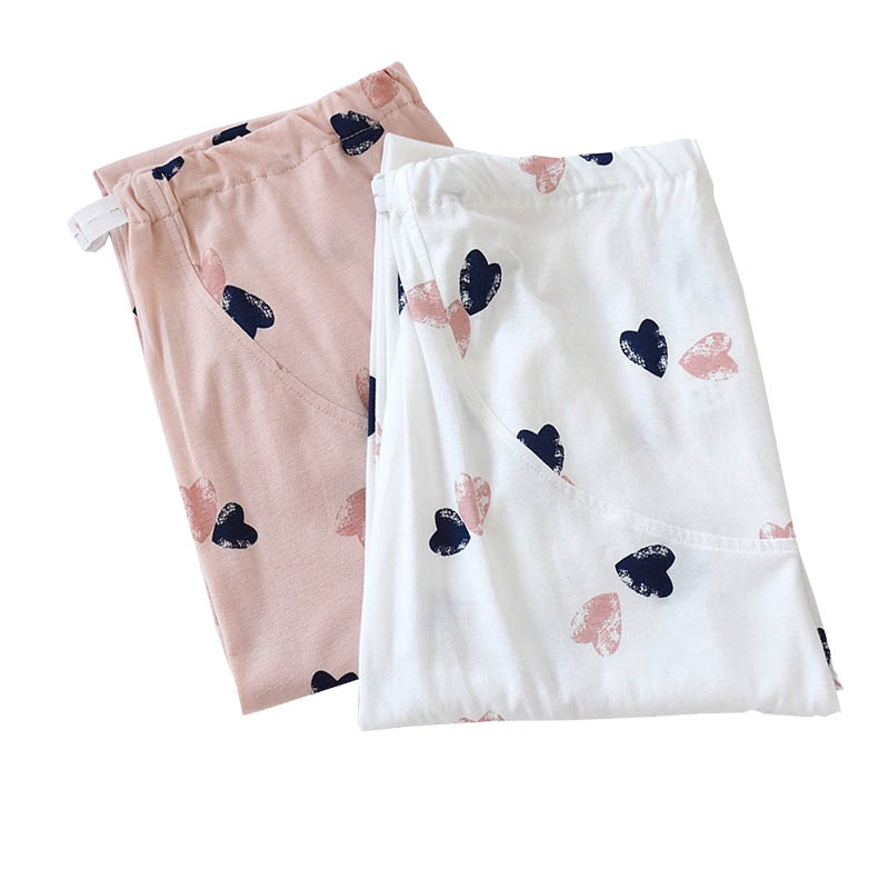 2020 Spring New Ladies Full Cotton Sleep Bottom Heart Women Printed Large Size Loose Pants Fresh Style Femme Homewear Pants