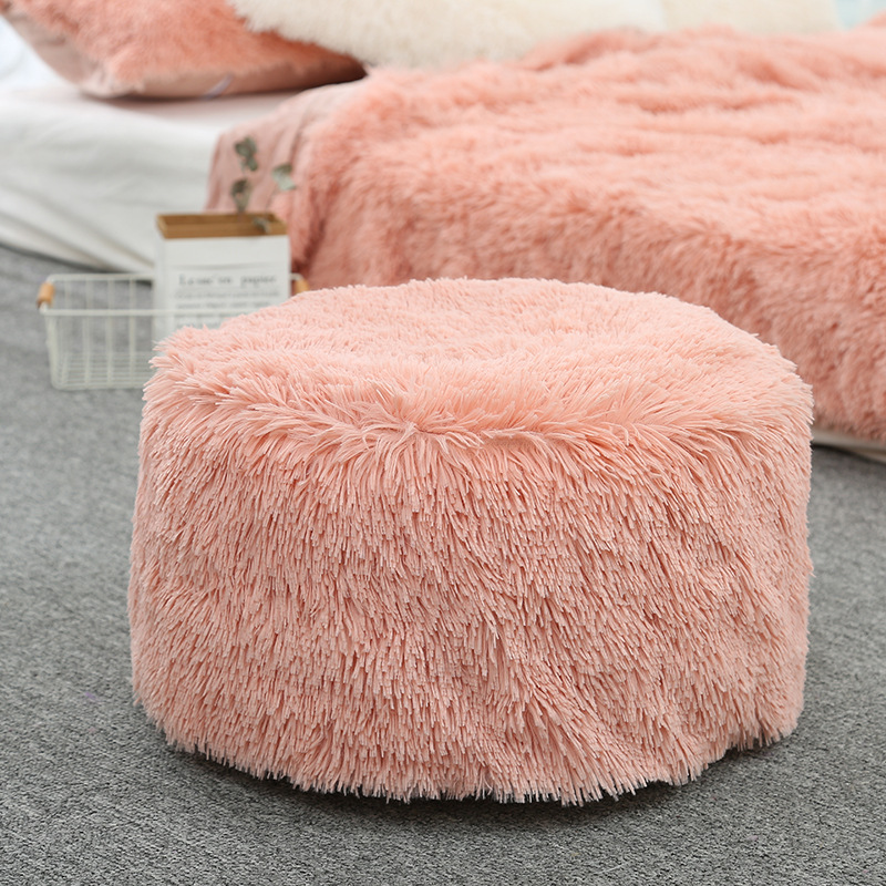 Artificial Wool Square Seat Cushion Home Decor Portable Inflatable Sofa Stool Solid Color Futon Mat Seat Stool For Living Room