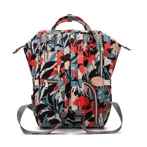 Image 4 - ดอกไม้พิมพ์กระเป๋าผ้าอ้อมกระเป๋าคลอดบุตรผ้าอ้อมกระเป๋าเดินทางท่องเที่ยวกลางแจ้งขนาดใหญ่ความจุ Baby Care กระเป๋าสำหรับรถเข็นเด็ก LEQUEEN