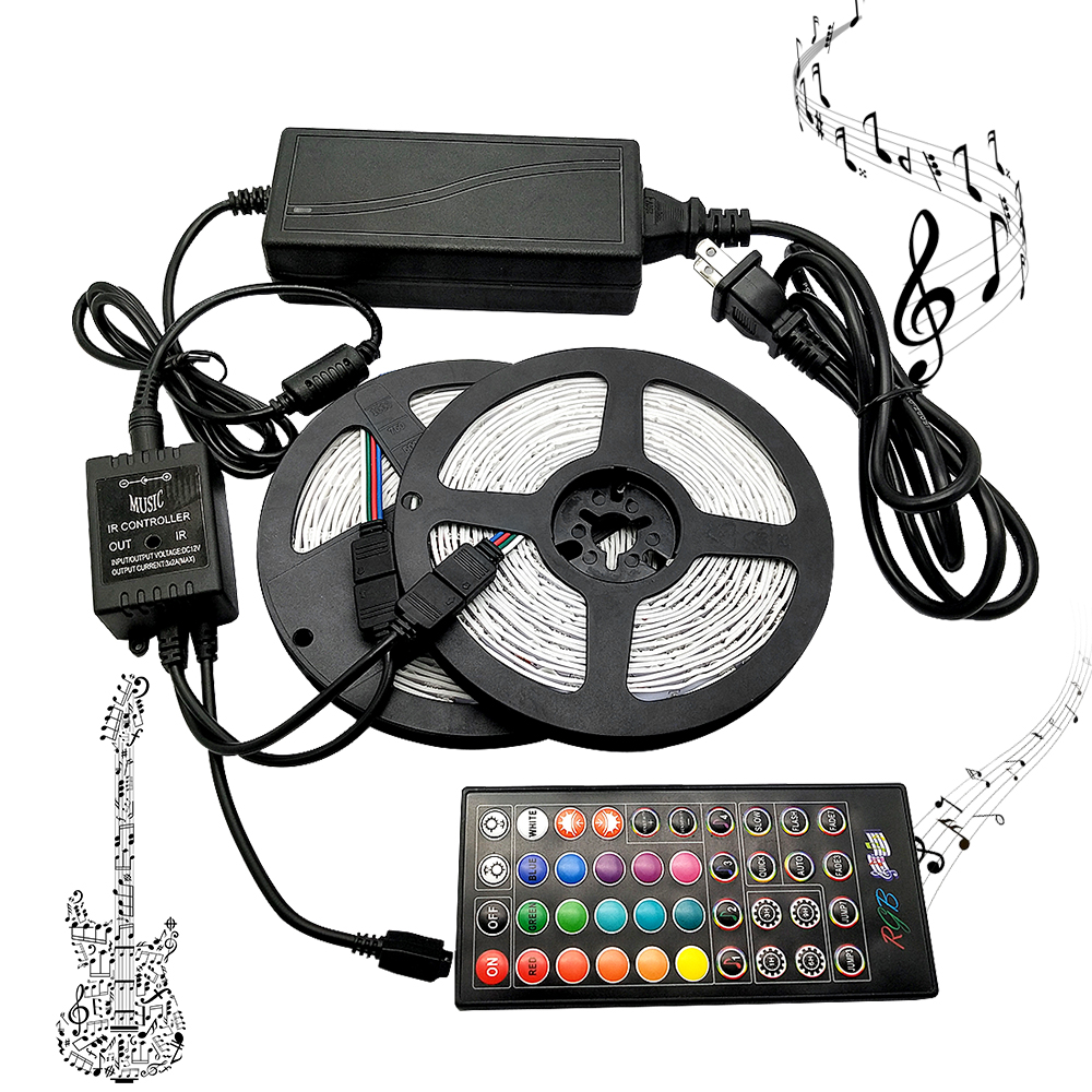 Music Led Strip RGB SMD 5050 DC 12V String Diode Flexible Ribbon Led Light Strip,40Keys Music Led Controller,Adapter Plug