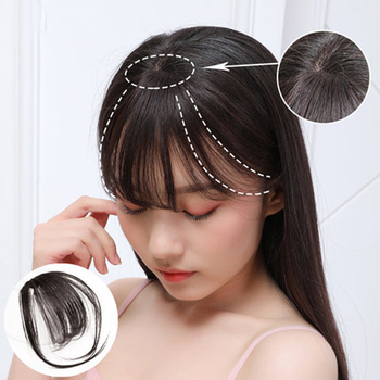 Fringe Bangs Synthetic Hair Topper Extension Clip In Crown Hairpiece with Temples for Women short Black & Brown - discount item  39% OFF Synthetic Hair