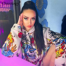 Chicology skull fire flame print Gothic oversize streetwear hoodies women long sleeve kpop clothes 2019 autumn winter hooded top