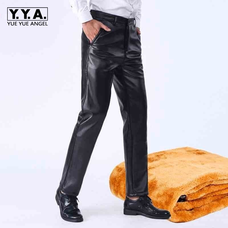 Mens Faux Leather Pants Thick Fleece Lining Winter Warm Loose Windproof Waterproof Motorycle Pants Plus Size Casual Pu Leather