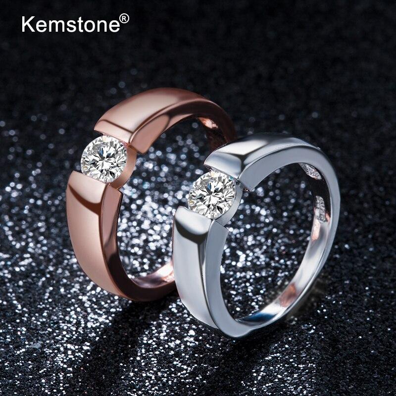 Женская модная медная кольцо Kemstone, розовое золото, серебристый циркониевый размер от 4 до 13