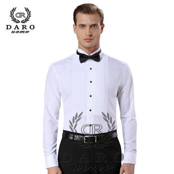 New Arrival moda bawełniane koszule męskie z długim rękawem pure color koszula męska tuxedo camisas hombre DR883 tanie i dobre opinie DAROuomo Tuxedo koszule Pełna COTTON Pojedyncze piersi Suknem Stałe Skręcić w dół kołnierz REGULAR