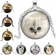 цены 2019 New Hot Sale Cute Cat Pet Necklace Gift Glass Convex Round Pendant Necklace Fashion Jewelry