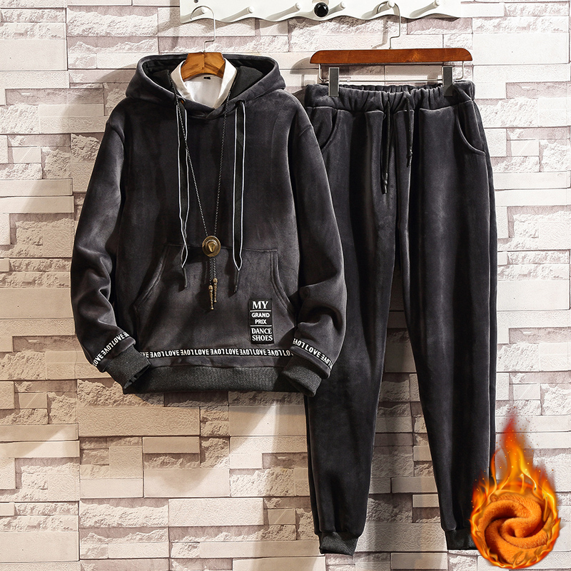 Gold Velvet Men's Tracksuits Winter Thick Mens Set Hooded Suit Men Two Piece Set Track Suit Hoodie 2 Piece Set